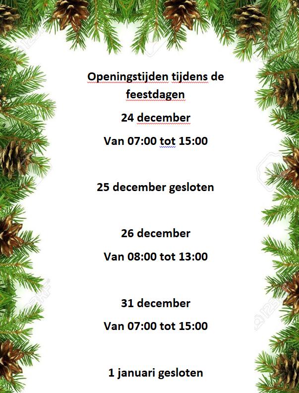 Openingstijden met de feestdagen